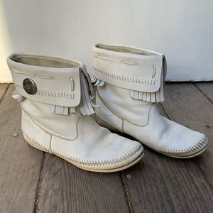 Native American white leather boots